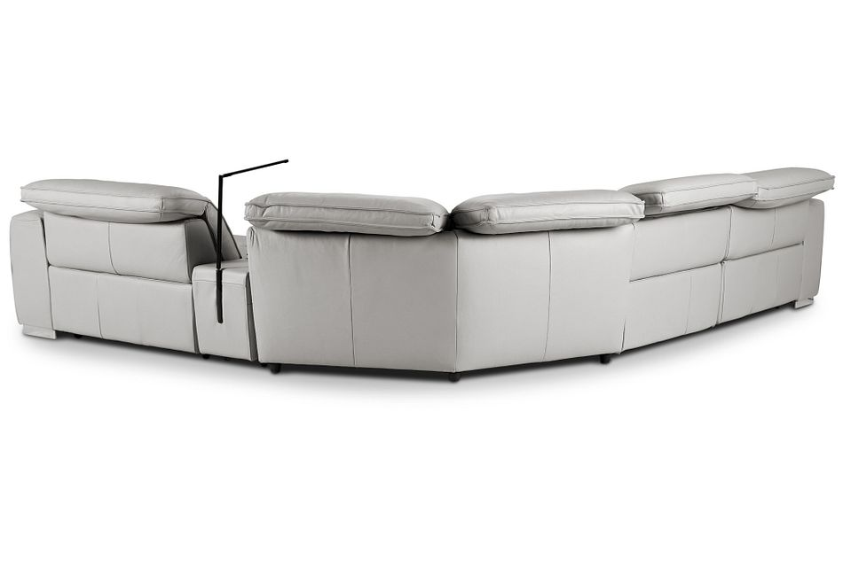 Reva Gray Leather Small Triple Power Reclining Two-arm Sectional