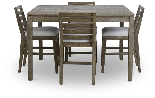 Bravo Dark Tone Square High Table & 4 Slat Barstools (3)