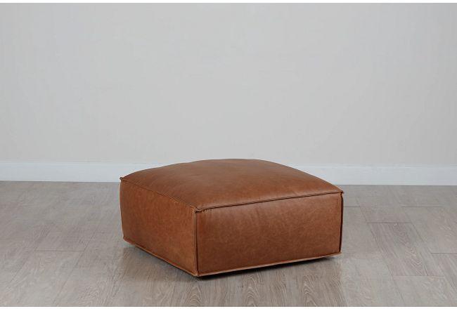 Ashlyn Brown Leather Ottoman