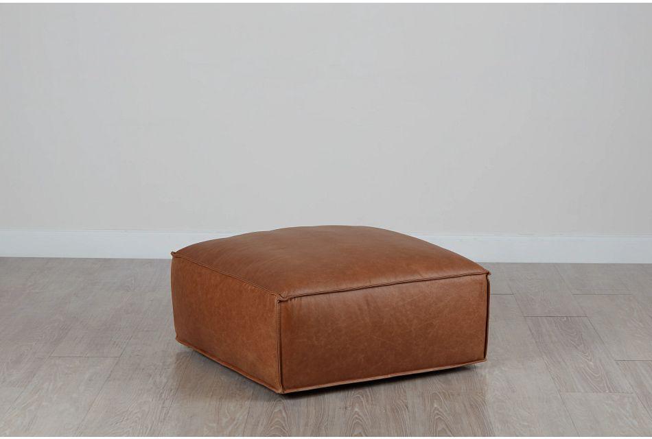 Ashlyn Brown Leather Ottoman,  (0)