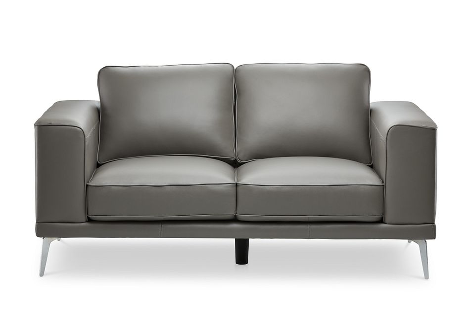 Naples Gray Leather Loveseat With Metal Legs
