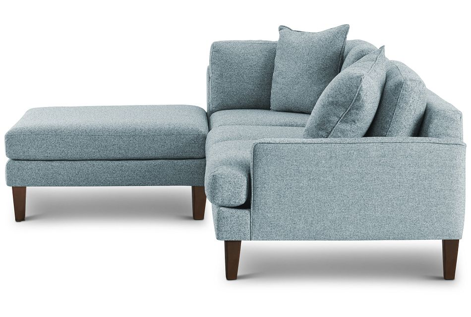 Morgan Teal Fabric Small Right Bumper Sectional W/ Wood Legs