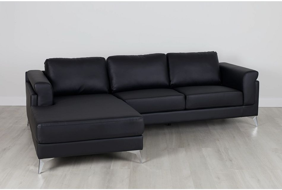 Gianna Black Micro Left Chaise Sectional, %%bed_Size%% (0)