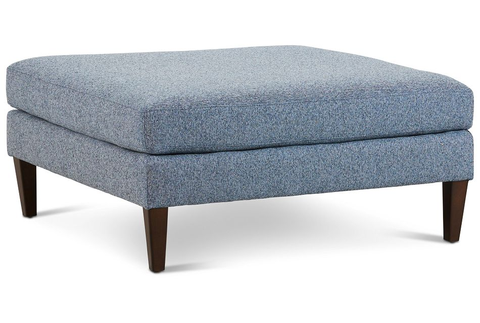Morgan Blue Fabric Cocktail Ottoman With Wood Legs