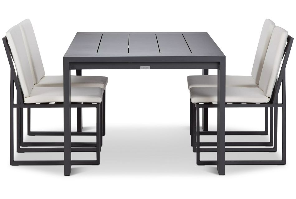 "Linear Dark Gray White 70"" Aluminum Table & 4 Cushioned Side Chairs"