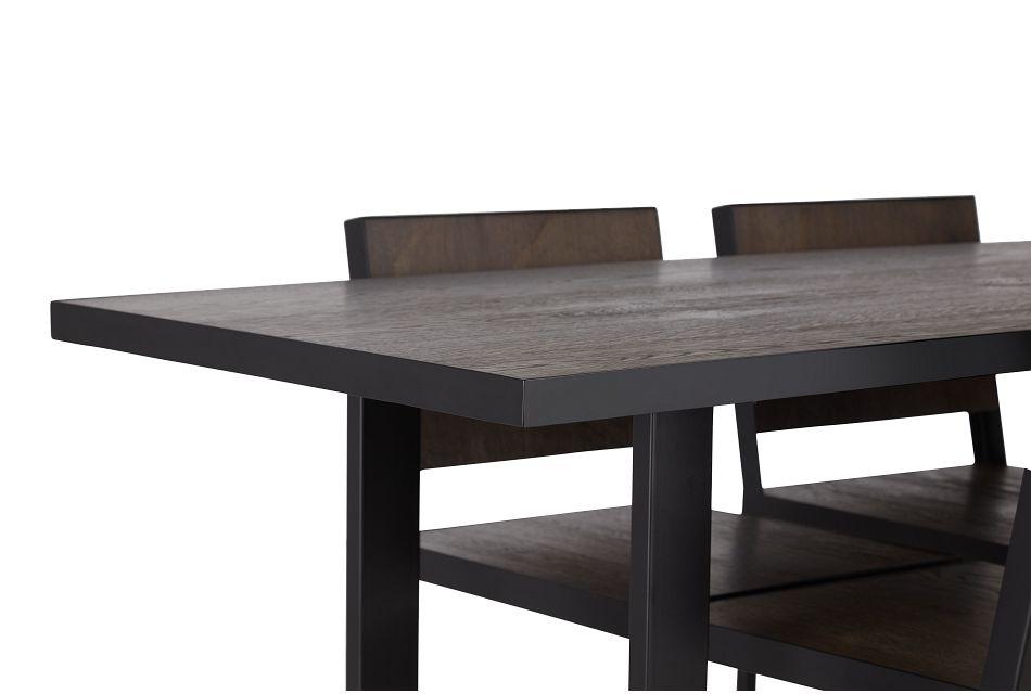 Hudson Dark Tone Wood High Table & 4 Barstools