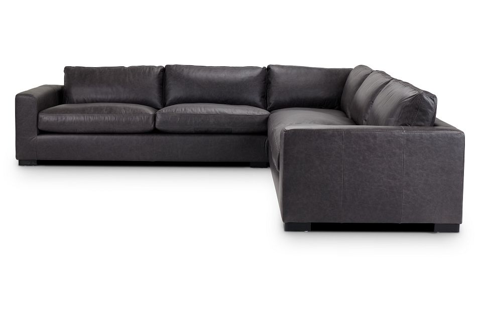 Bohan Black Leather Large Two-Arm Sectional,  (3)