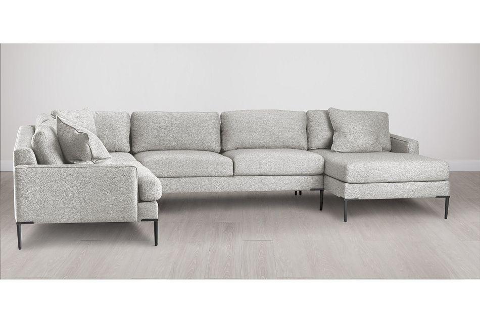 Morgan Light Gray Fabric Medium Right Chaise Sectional W/ Metal Legs