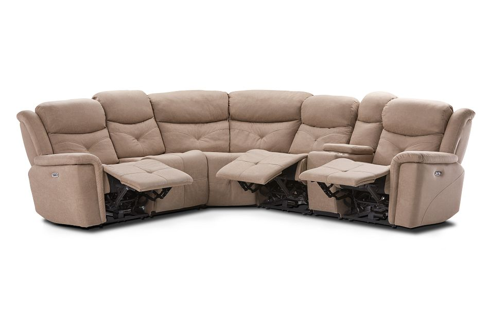 Calvin Taupe Micro Medium Triple Power 2-arm Sectional