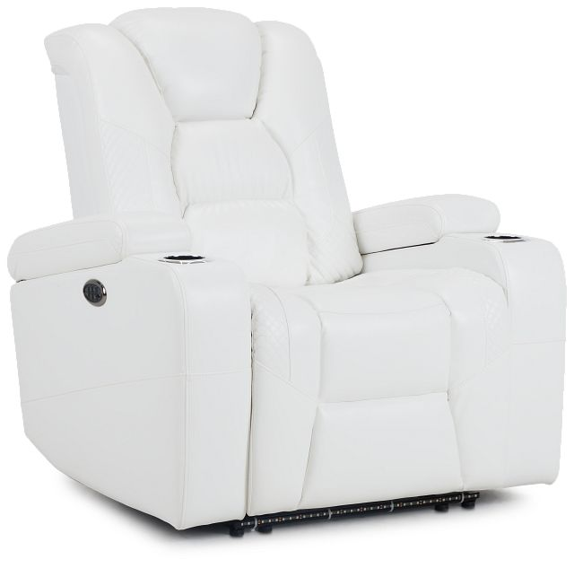 Troy White Micro Power Recliner With Power Lumbar (1)