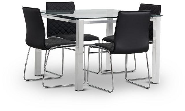Skyline Black Square Table & 4 Metal Chairs (1)
