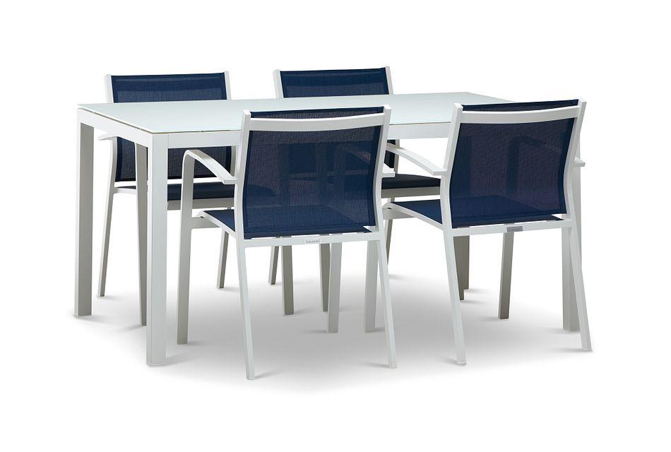 "Lisbon NAVY 60"" Rectangular Table & 4 Sling Chairs"