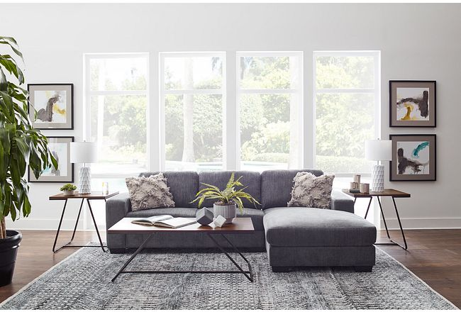 Estelle Dark Gray Fabric Right Chaise Sectional