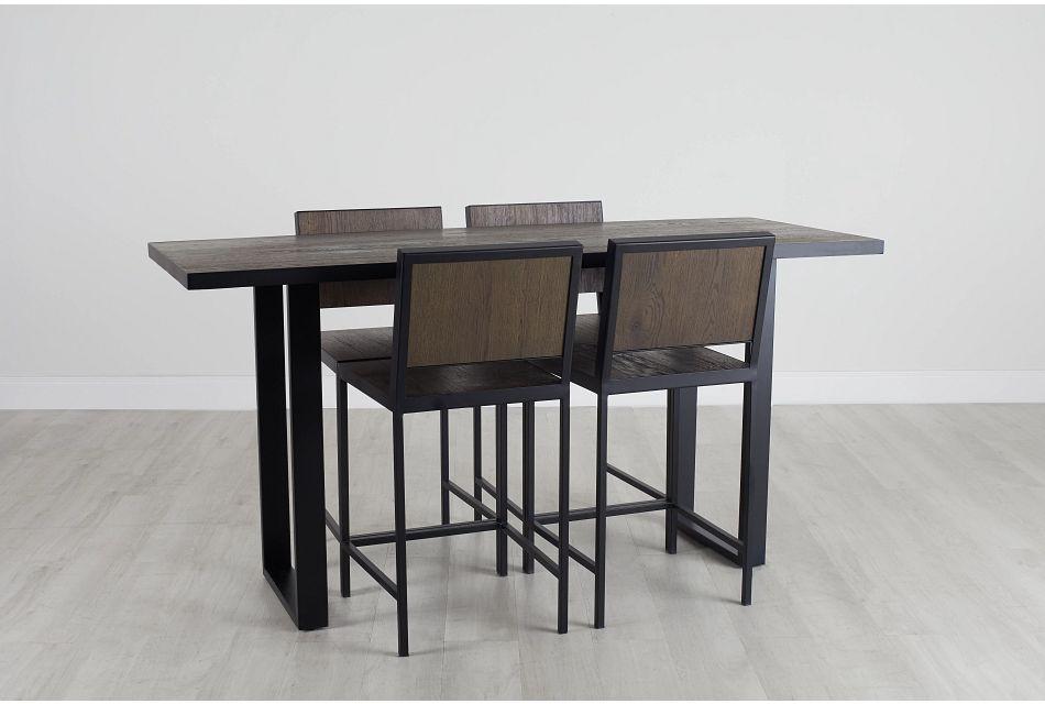 Hudson Dark Tone Wood High Table & 4 Barstools,  (0)