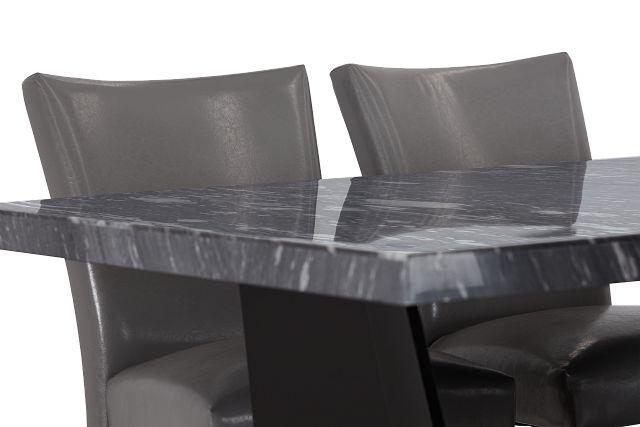 Auburn Dark Gray High Table & 4 Gray Upholstered Barstools (3)