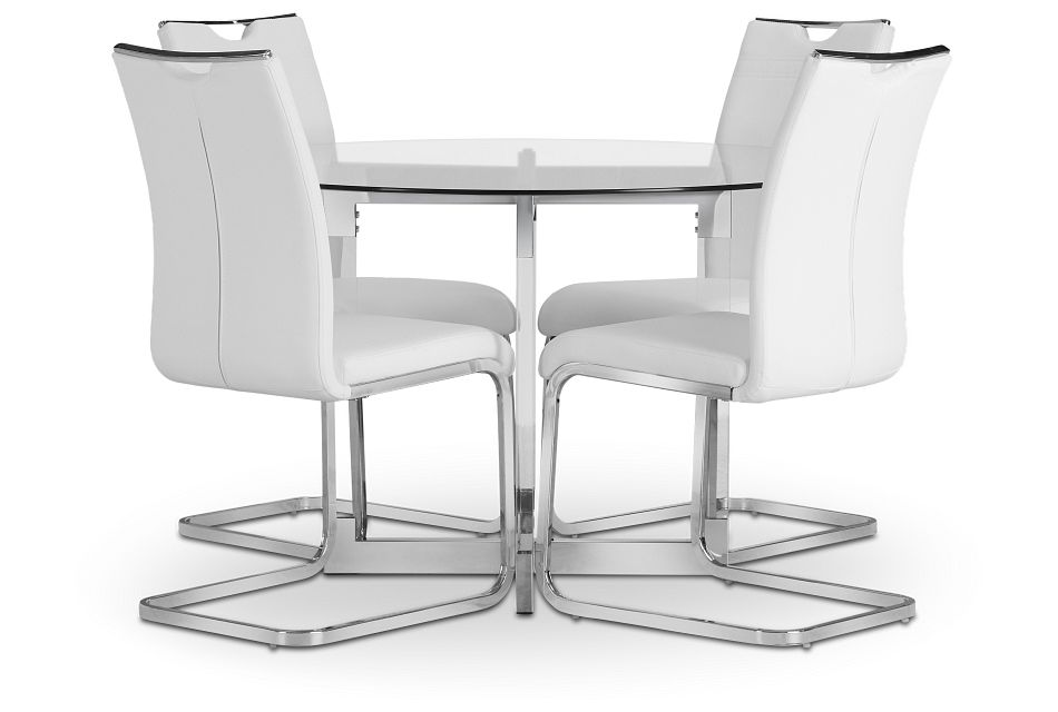 Denmark White Glass Round Table & 4 Upholstered Chairs,  (2)