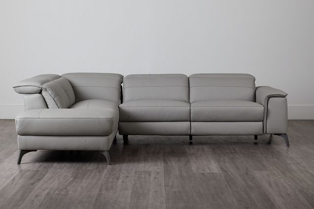 Pearson Gray Leather Left Bumper Sectional (0)