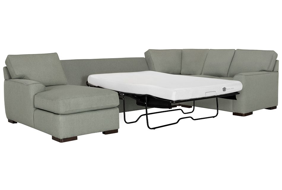 Austin GREEN FABRIC Left Chaise Memory Foam Sleeper Sectional