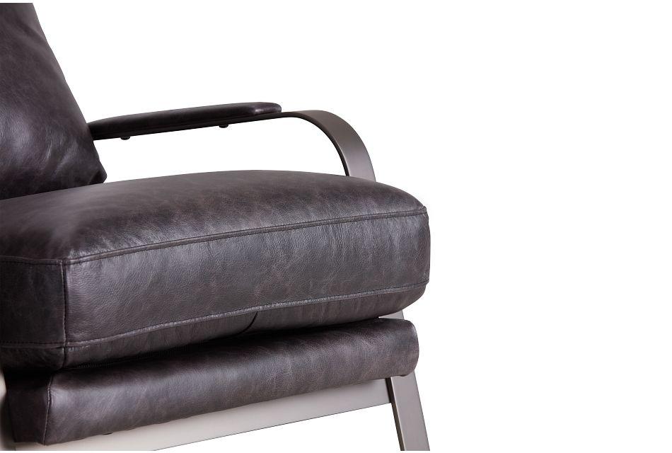 Lex Black Leather Accent Chair