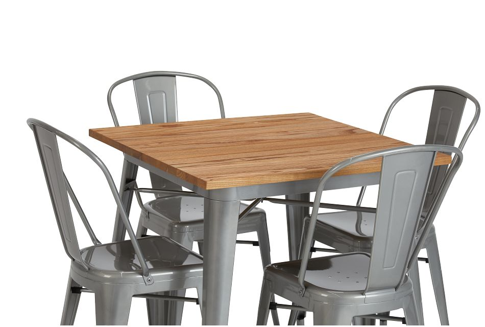 Huntley Light Tone Square Table & 4 Metal Chairs