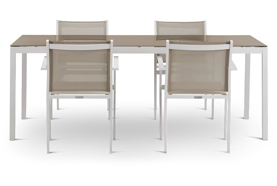 "Aventura Champagne 78"" Table & 4 Arm Chairs"