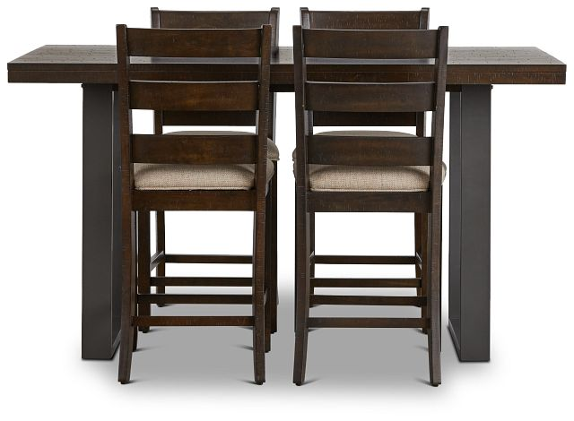 Sawyer Dark Tone High Table & 4 Wood Barstools (3)