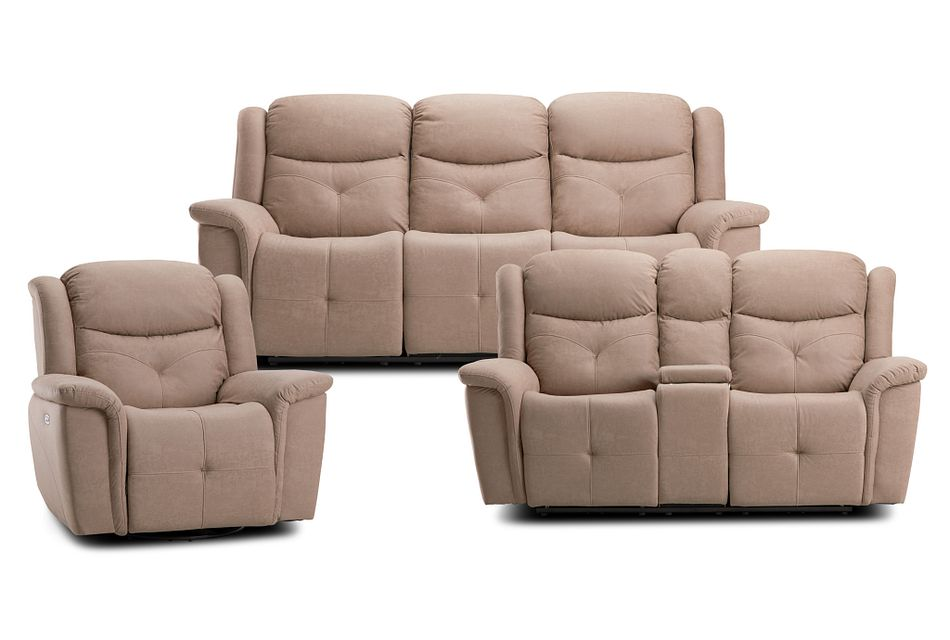 Calvin Taupe Micro Power Reclining Living Room