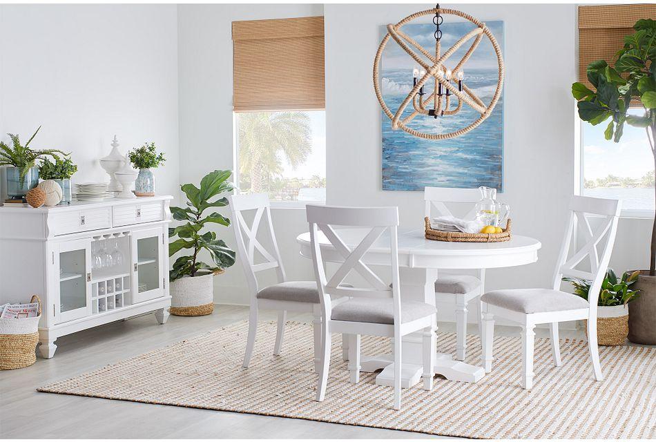 Marina WHITE ROUND Table & 4 Wood Chairs