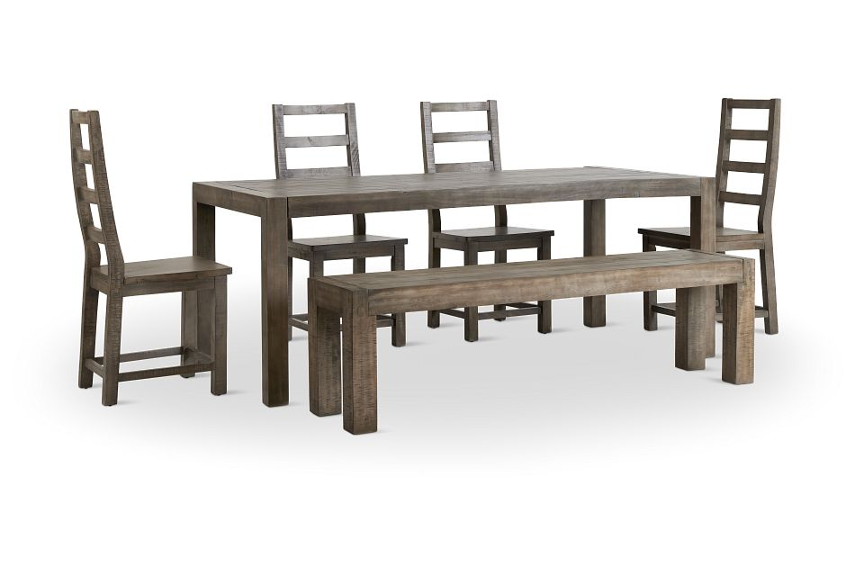 Seattle Gray Rect Table, 4 Chairs & Bench,  (2)