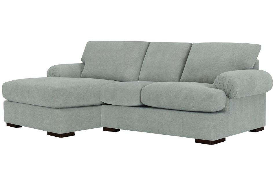 Belair Light Blue Fabric Left Chaise Sectional