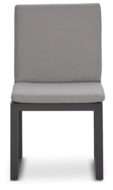 Linear Dark Gray Aluminum Cushioned Chair (2)