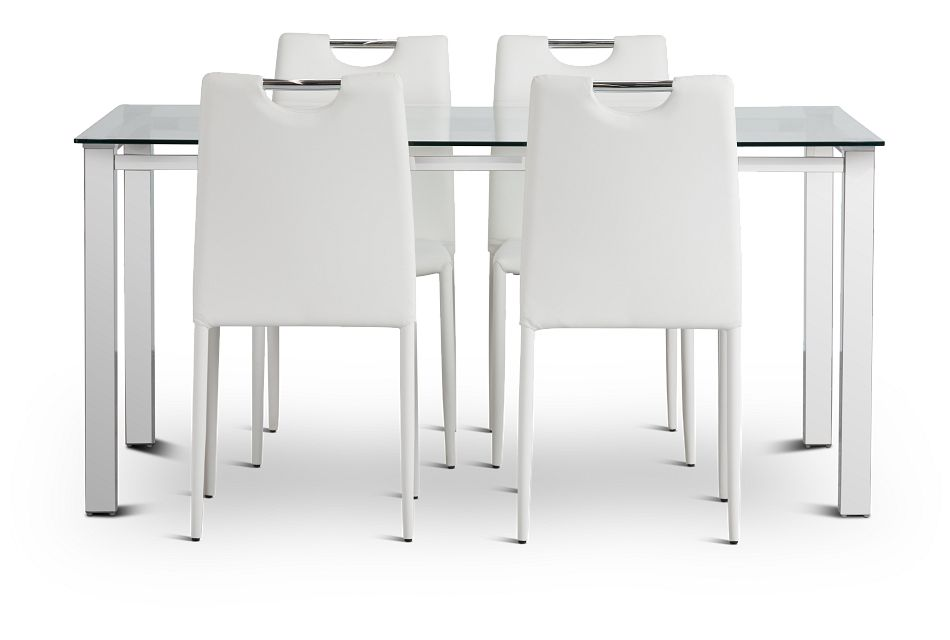 Skyline White Rect Table & 4 Upholstered Chairs,  (3)