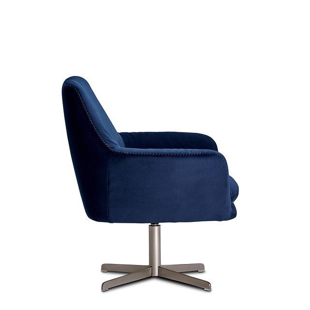 Xander Dark Blue Velvet Swivel Accent Chair (2)