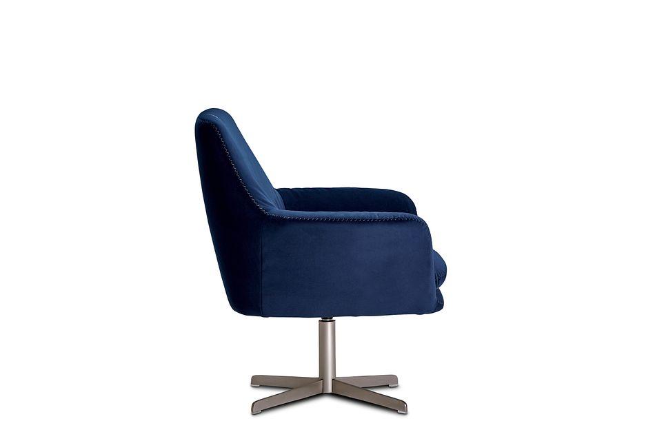 Xander Dark Blue  Velvet Swivel Accent Chair,