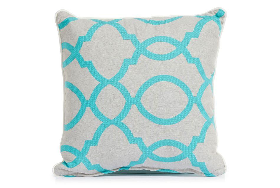 """Clover Aqua 18"""" Indoor/outdoor Square Accent Pillow"""