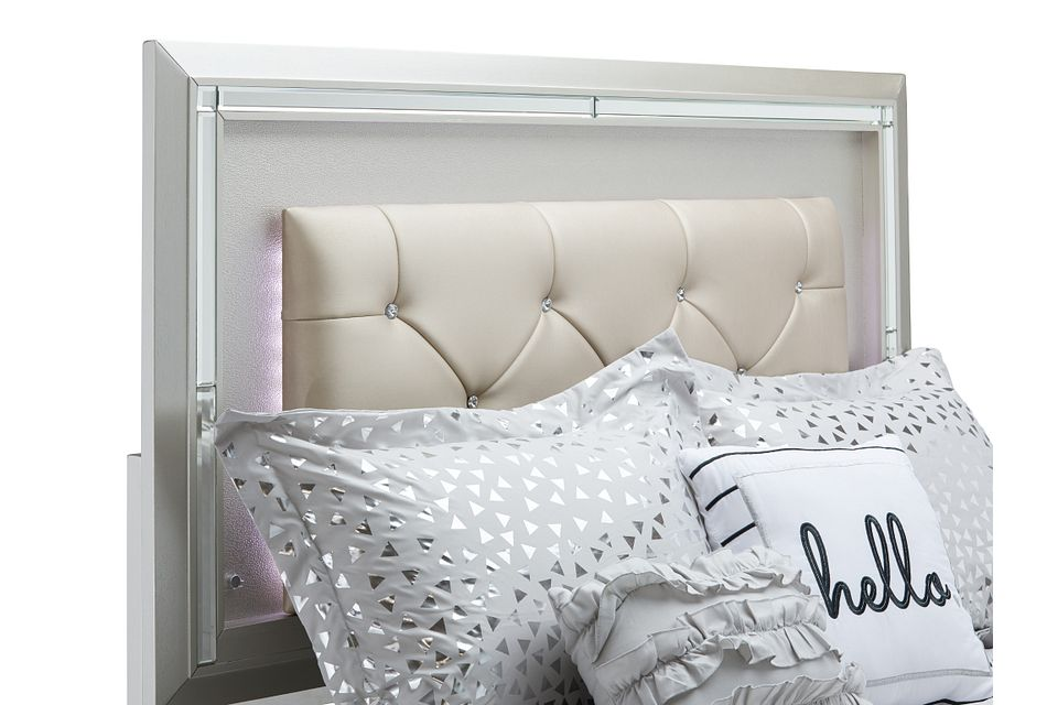 Platinum Silver Uph Panel Bed