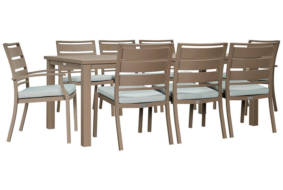 """Raleigh Teal 81"""" Rectangular Table & 4 Cushioned Chairs"""