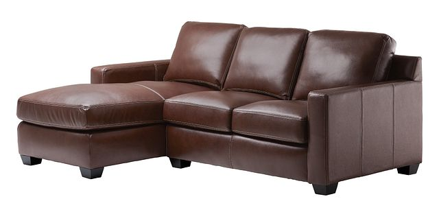 Carson Medium Brown Leather Small Left Chaise Sectional (0)