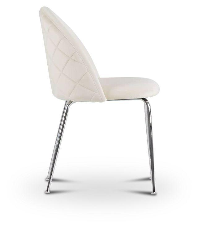 Capri Ivory Upholstered Side Chair W/ Chrome Legs (2)