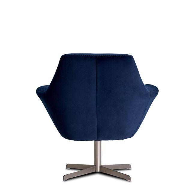 Xander Dark Blue Velvet Swivel Accent Chair