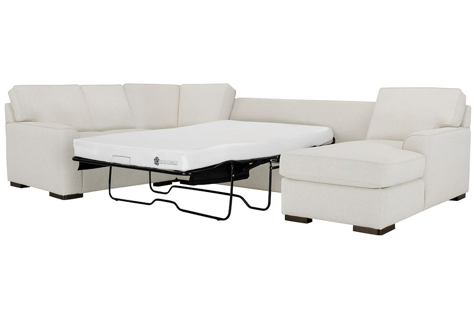 Austin White Fabric Right Chaise Memory Foam Sleeper Sectional