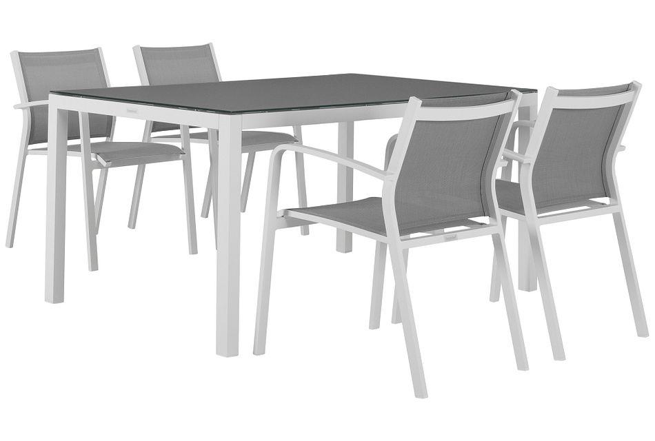 "Lisbon Gray 60"" Rectangular Table & 4 Chairs,  (1)"