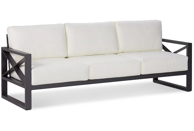 Linear Dark Gray White Aluminum Sofa