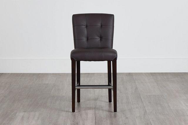 "Shelby Dark Brown Micro 24"" Upholstered Barstool (0)"
