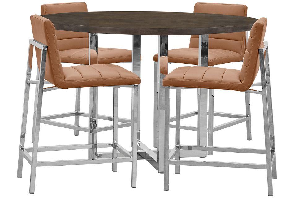 Amalfi Brown Wood High Table & 4 Upholstered Barstools