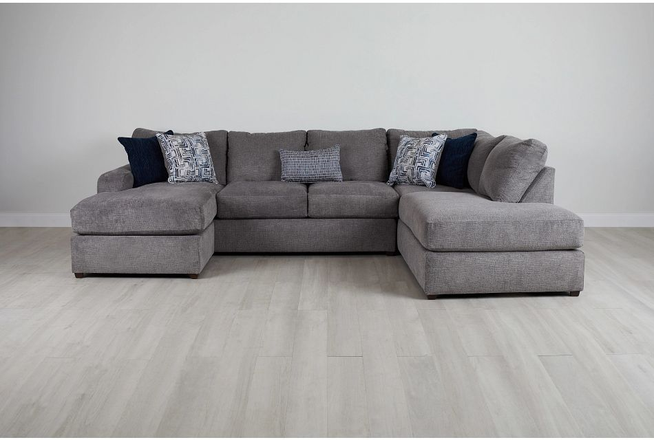 Banks Gray Fabric Right Bumper Sectional,  (0)