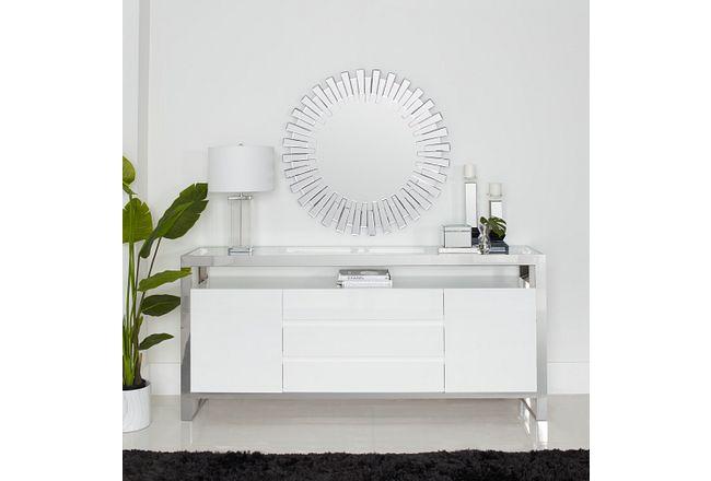 Miami White Glass Buffet