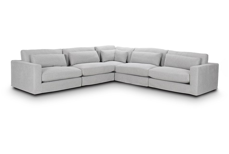 Cozumel Light Gray Fabric 5-Piece Modular Sectional, %%bed_Size%% (0)