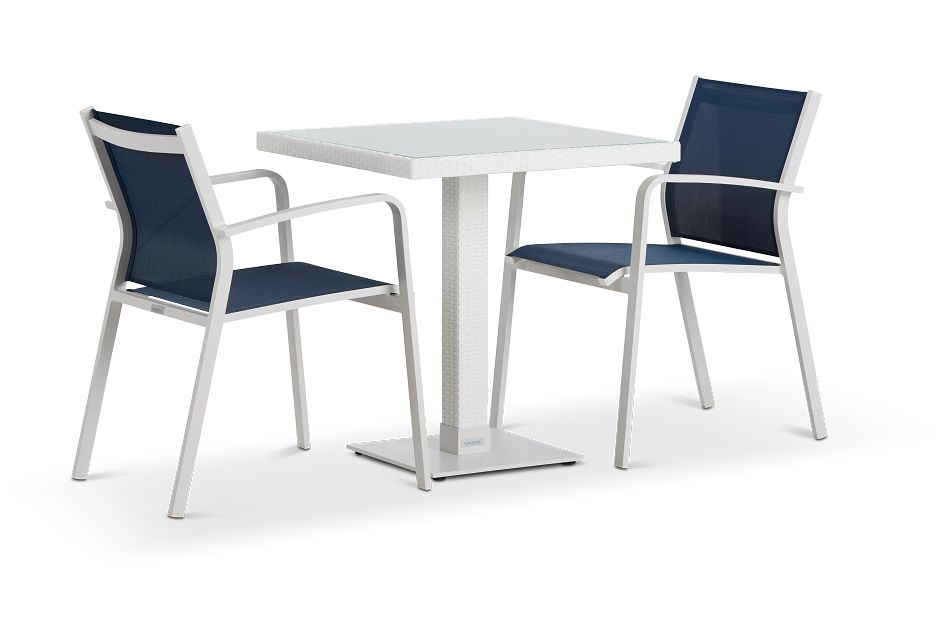 """Lisbon Navy 27"""" Square Table & 2 Chairs"""