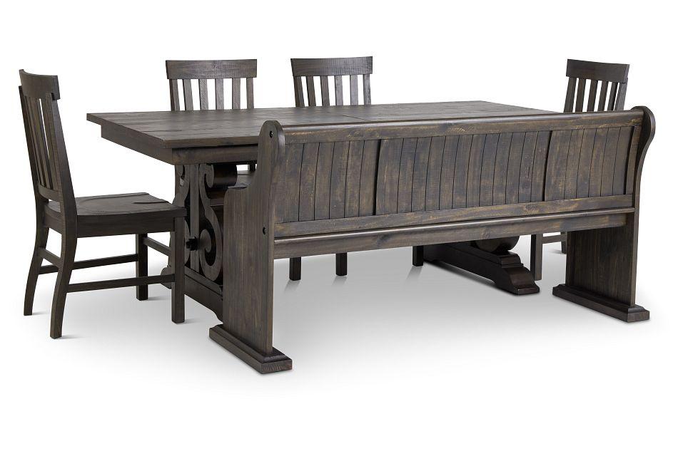 Sonoma Dark Tone Trestle Table, 4 Chairs & Bench,  (1)